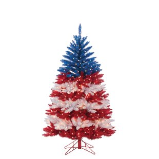 Patriotic American Red/Blue Artificial Christmas Tree with 800 Clear/White Lights