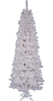 white salem pencil pine 75 artificial christmas tree with 270 led warm white lights with stand - 75 White Christmas Tree