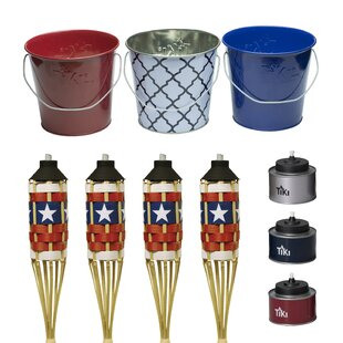 10 Piece Tin Americana Wax Bucket And Tiki Table Torch Set