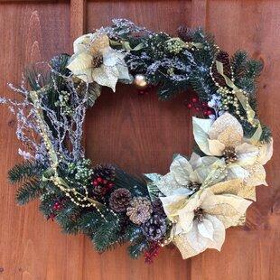 Front Door 25 Poinsettia Wreath