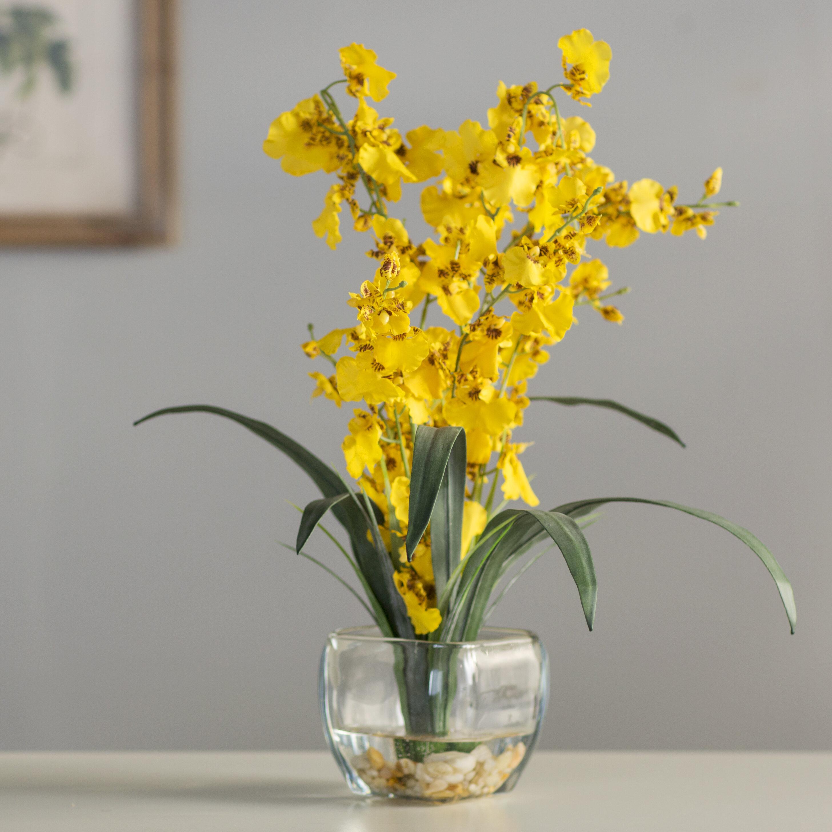 Andover Mills Liquid Illusion Dancing Lady Silk Yellow Orchids ...