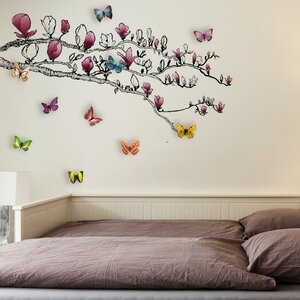 Huge Magnolia and 3D Colourful Butterfly Wall Sticker