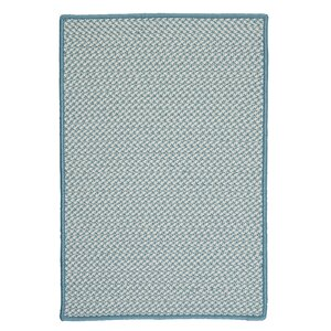 Outdoor Houndstooth Tweed Sea Blue Area Rug