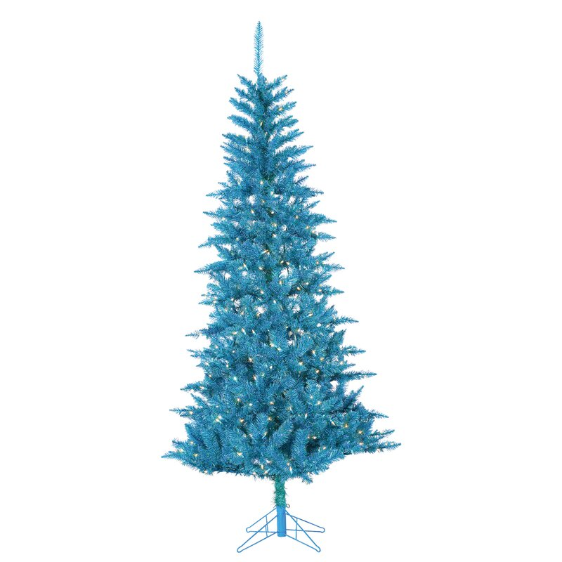 Tuscany Tinsel 7.5u0027 Teal Artificial Christmas Tree With 450 Clear Lights  With Stand