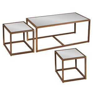 3 Piece Ethan Mirrored Nesting Table Set