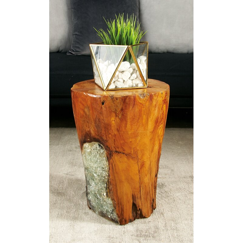 Awesome Wood Teak And Resin Garden Stool