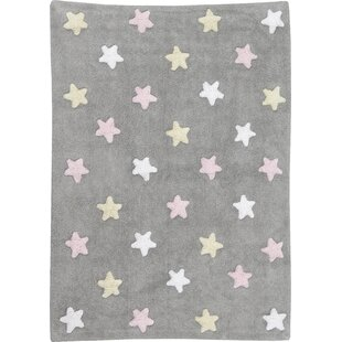 Tricolor Star Hand-Tufted Grey Area Rug by Lorena Canals