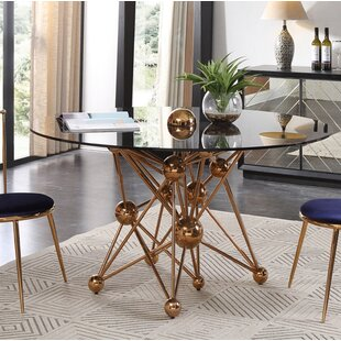 Elston Glass And Rosegold Round Dining Table Reviews