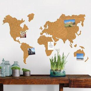World map cork board wayfair cork map wall mounted bulletin board gumiabroncs Choice Image