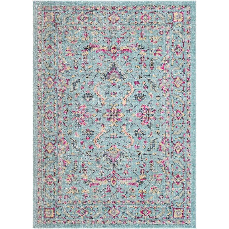 Randhir Teal/Pink Area Rug