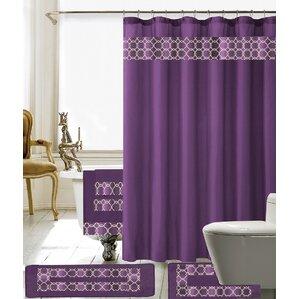 Austyn 18 Piece Embroidery Shower Curtain Set