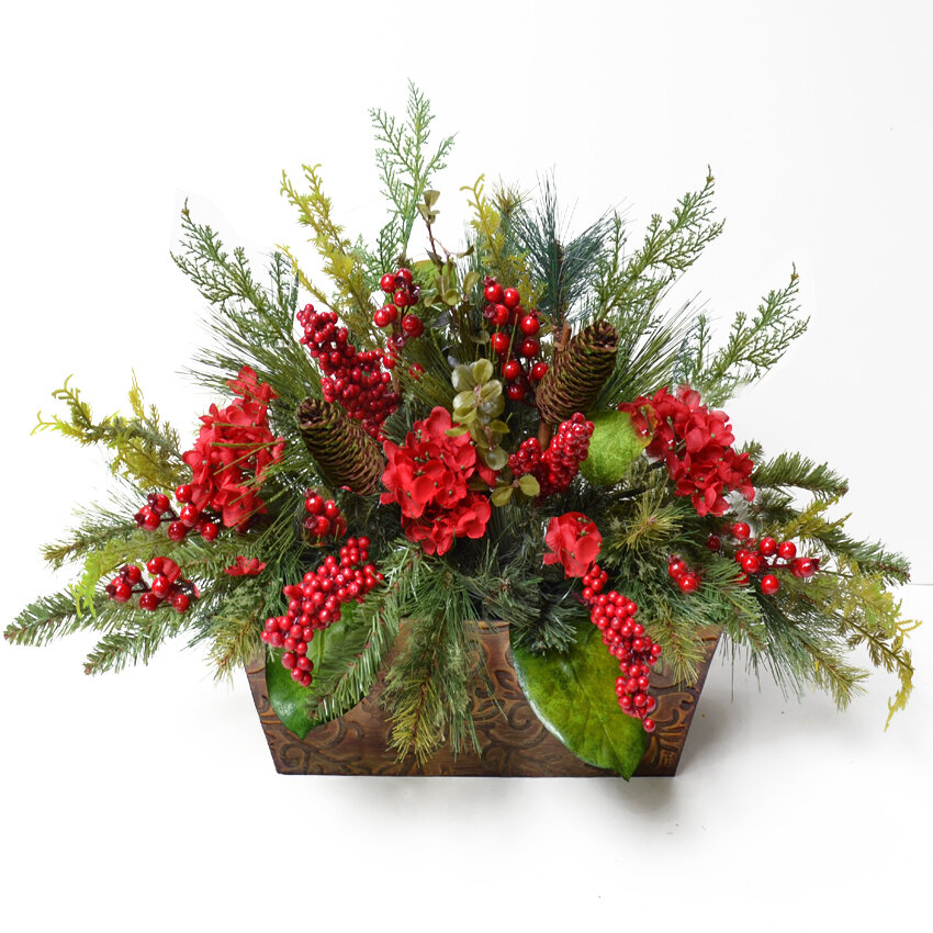 floral home decor pine and berry christmas floral arrangement