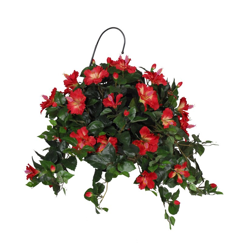 August Grove Artificial Hibiscus Hanging Plant In Basket Reviews