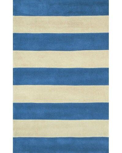 Beach Rug Blue Ivory Boardwalk Stripes