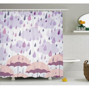 Umbrella And Raindrops Decor Shower Curtain