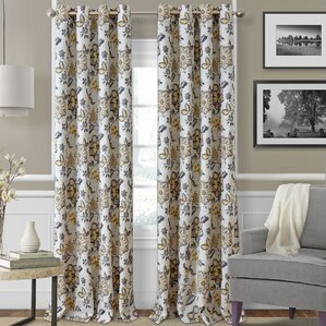 Sorrento Nature Floral Blackout Thermal Grommet Single Curtain Panel