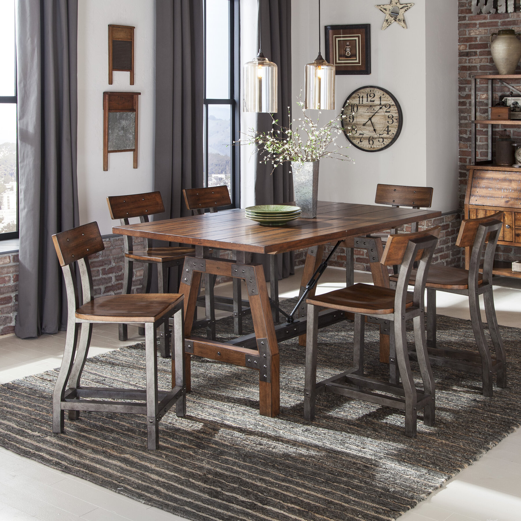Incroyable 7 Piece Industrial Kitchen U0026 Dining Room Sets Youu0027ll Love In ...