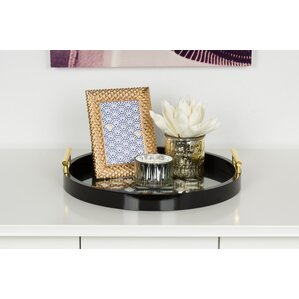 Caspen Round Cut Out Pattern Serving Tray With Metal Handles