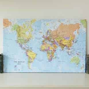 World map wayfair political world map graphic art print on canvas gumiabroncs Images