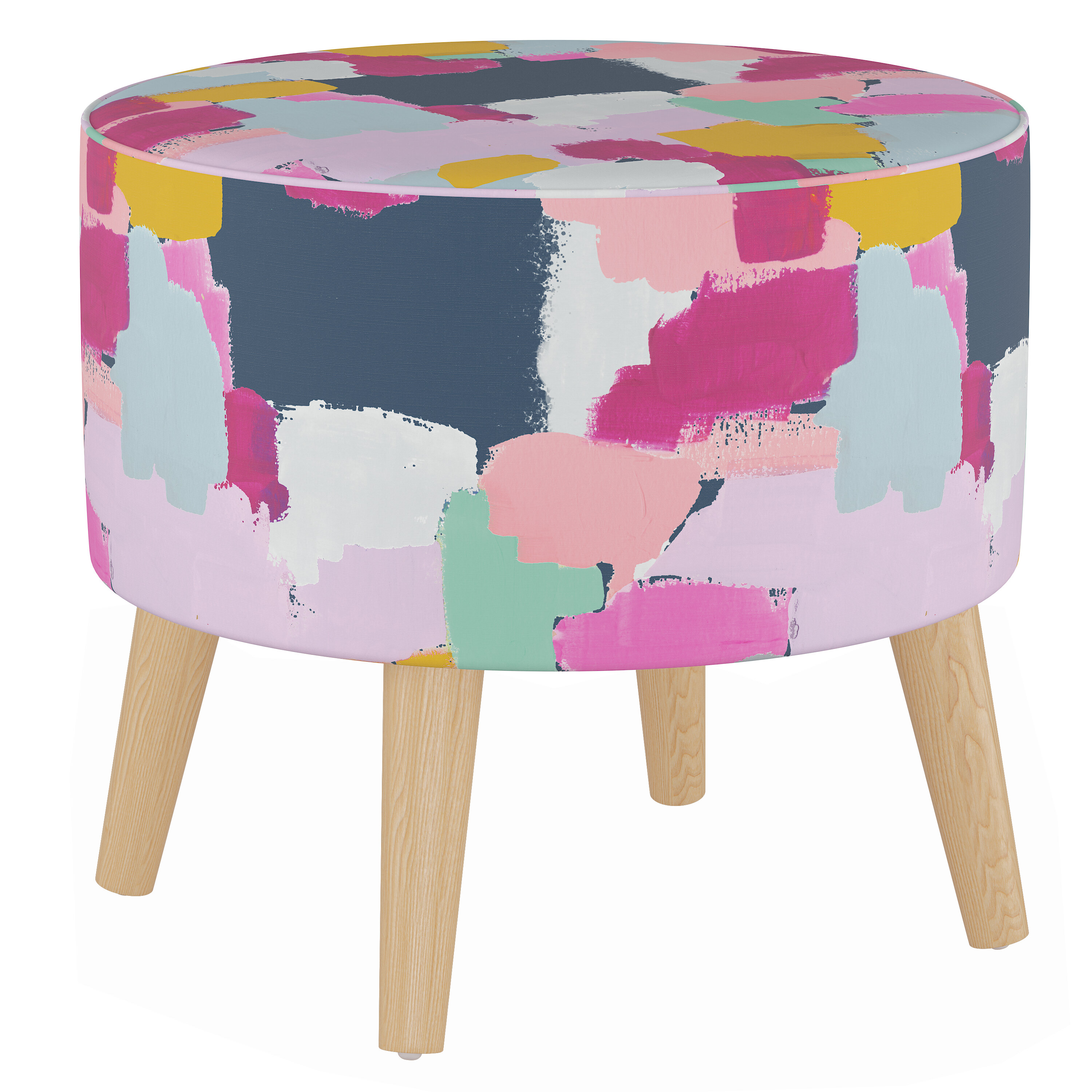 Wrought Studio Button Round Ottoman With Splayed Legs Wayfair