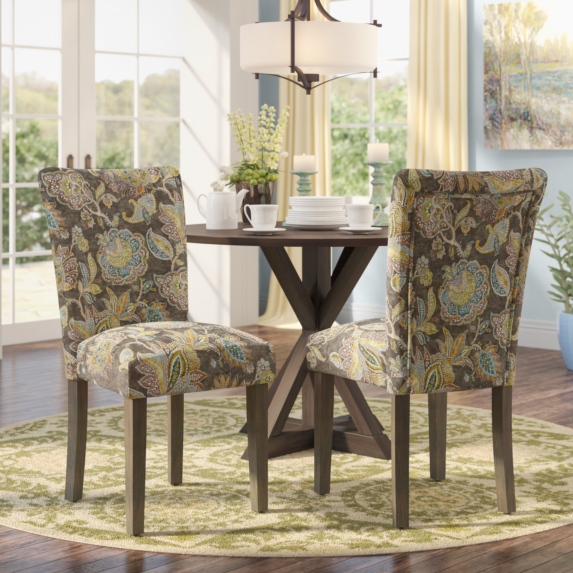 Andover Mills Niemann Floral Upholstered Dining Chair ...