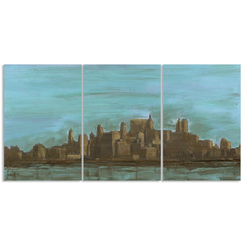 Manhattan Oil Painting Look 3 Piece Triptych Canvas Wall Art Set