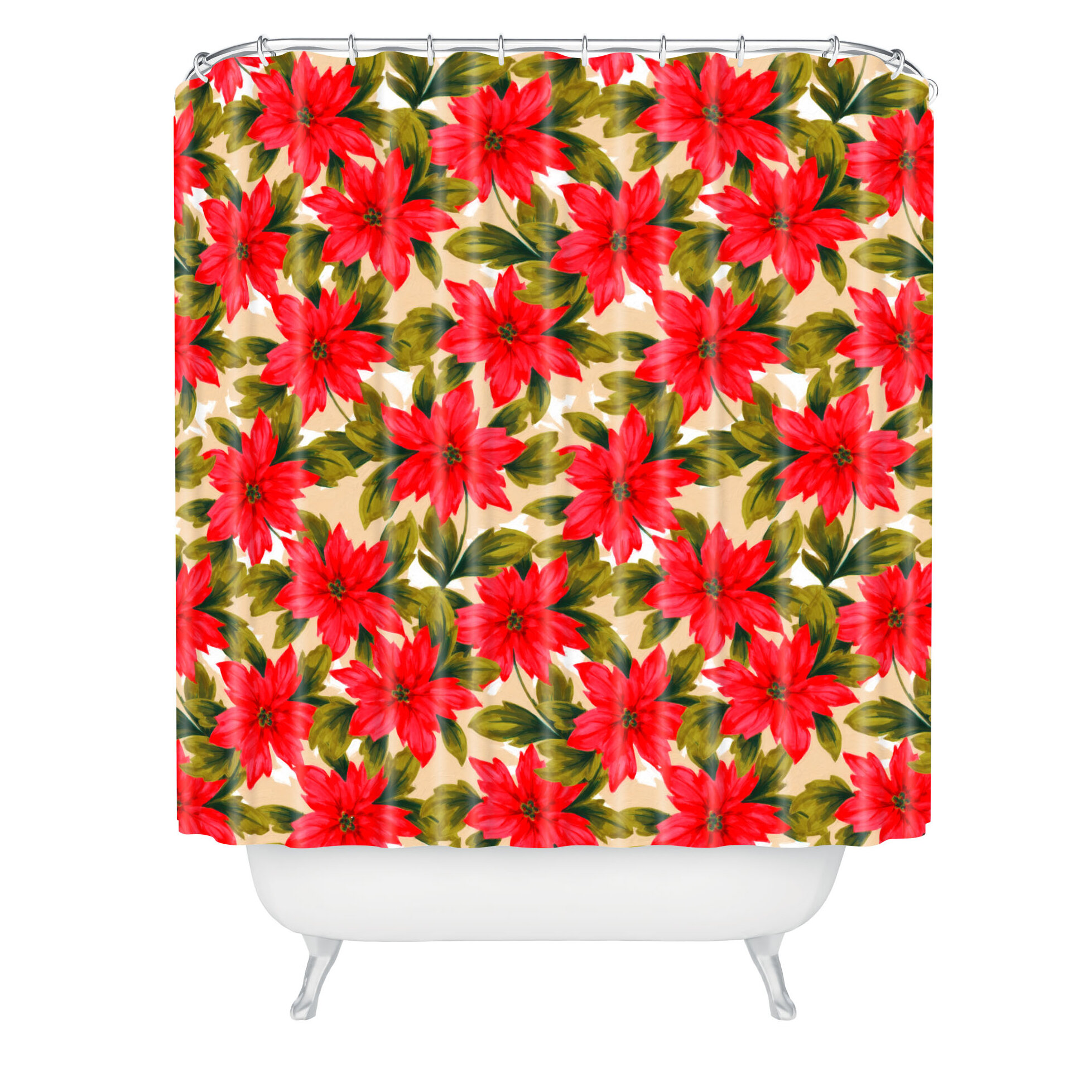 The Holiday Aisle Jade Poinsettia Shower Curtain