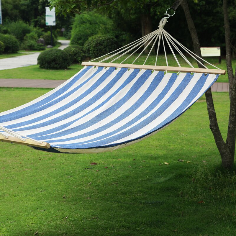 "AdecoTrading Hanging Suspended Double Tree Hammock with Stand  Size: 63"" W x 140"" D"