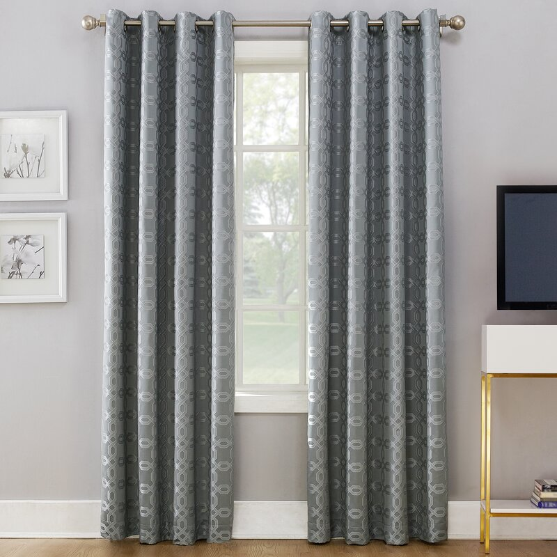 Rowes Woven Geometric Thermal Blackout Grommet Single Curtain Panel