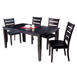 Haan Traditional 5 Piece Solid Wood Dining Set with Ladder Back Chair