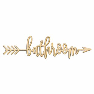Bathroom Arrow Wood Sign Home Gallery Wall Decor