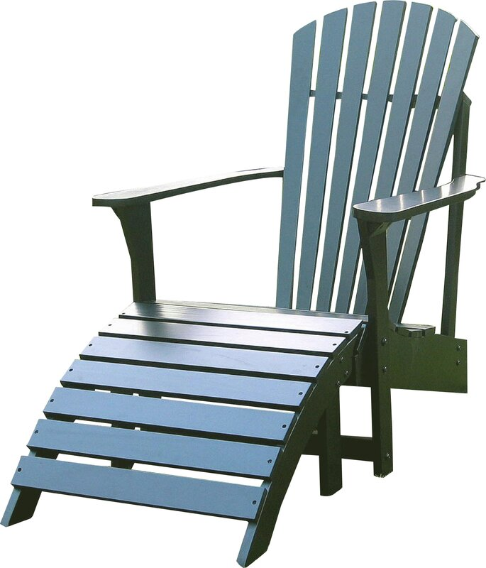 Hinman Solid Wood Adirondack Chair With Ottoman