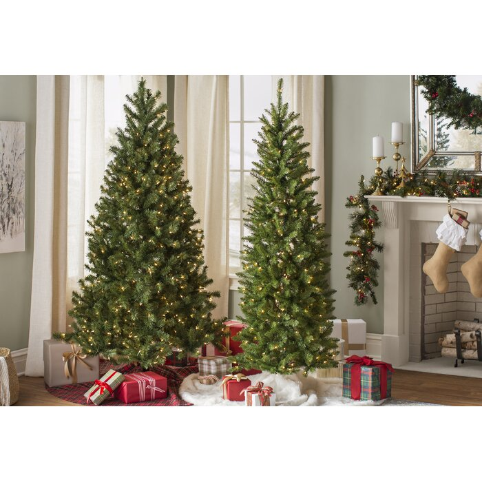 Artificial Christmas Tree.Green Spruce Artificial Christmas Tree With Warm White Lights