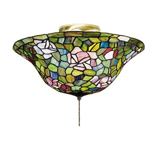 Tiffany Rosebush 3-Light Bowl Ceiling Fan Light Kit