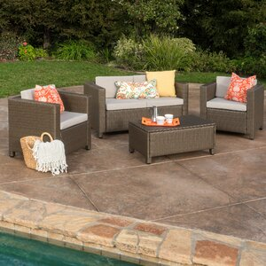 Kappa 4 Piece Rattan Sofa Set with Cushions