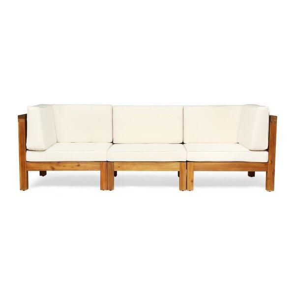 Seaham Teak Patio Sofa with Cushions & Reviews | AllModern