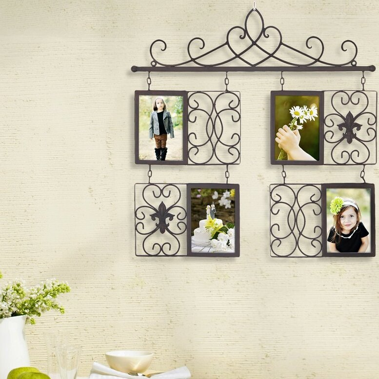 4 Opening Decorative Iron Metal Wall Hanging Collage Picture Frame ...