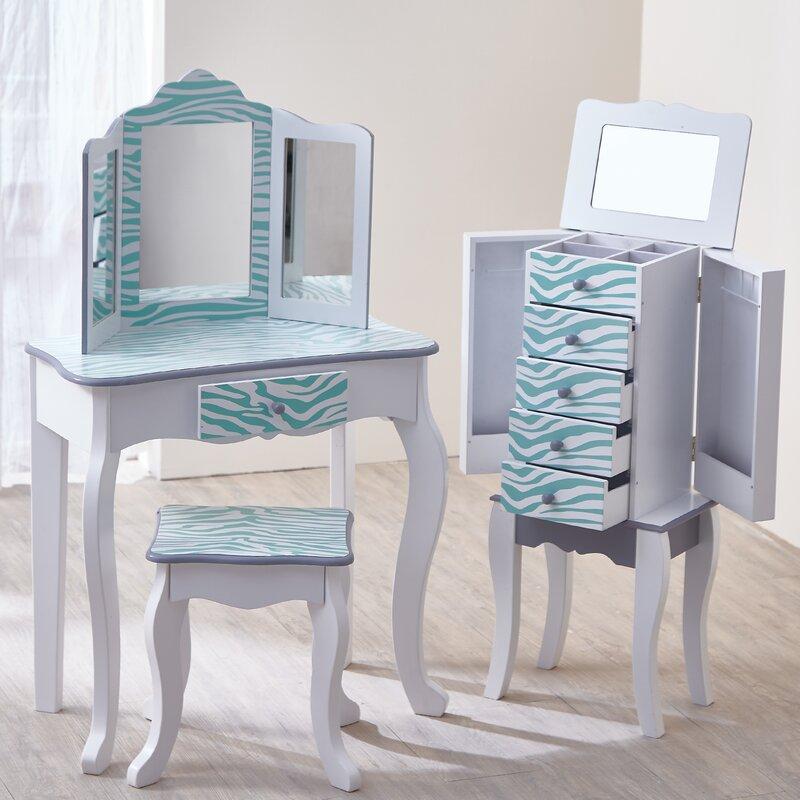 Teamson Kids Gisele Vanity Table And Stool Set With Mirror