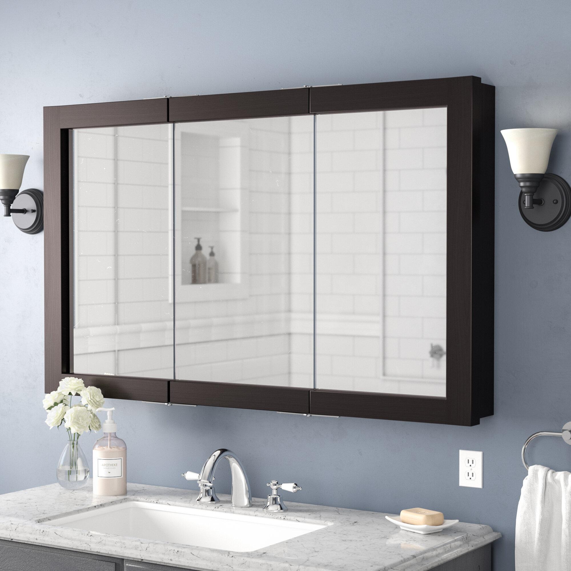 "Winston Porter Searle 48"" x 30"" Surface Mount Framed Medicine Cabinet & Reviews | Wayfair"