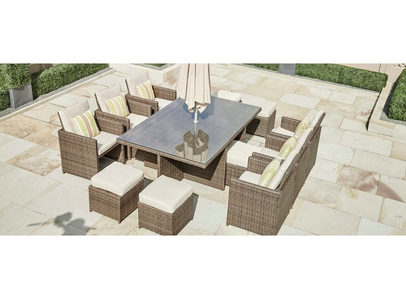 Frederica 11 Piece Dining Set With Cushions