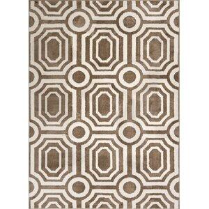 Dority Modern Mosaic Tile Work Brown/Beige Area Rug