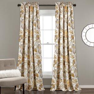 Morristown Nature/Floral Room Darkening Thermal Rod Pocket Curtain Panels (Set of 2)