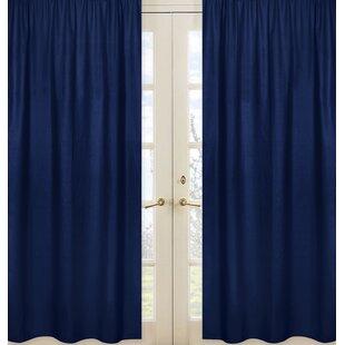 Stripe Collection Navy Blue Semi Sheer Rod Pocket Curtain Panels (Set Of 2)