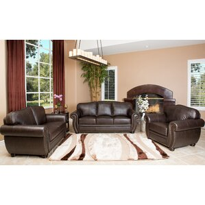 Hotchkiss Leather 3 Piece Living Room Set by World Menagerie