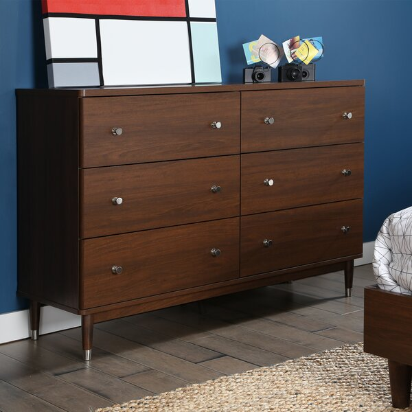 South S Olly Mid Century Modern 6 Drawer Double Dresser Reviews Wayfair
