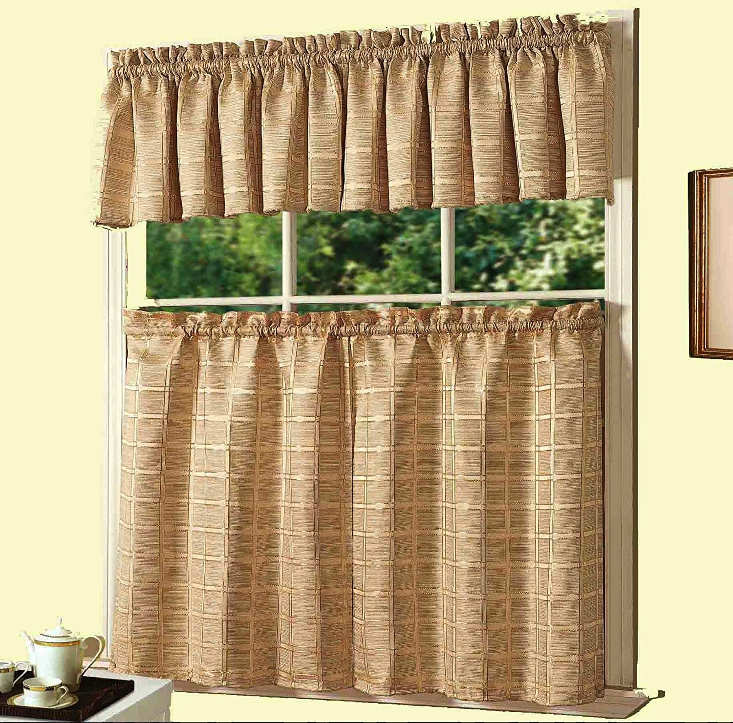 Halpin New 3 Piece Kitchen Curtain Set