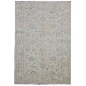 Beall Oriental Hand-Woven Wool Beige Area Rug