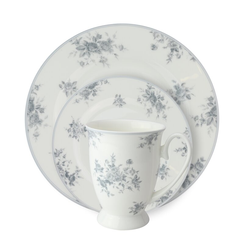 August Grove Stockwell Bone China Rose 12 Piece Dinnerware Set, Service for 4