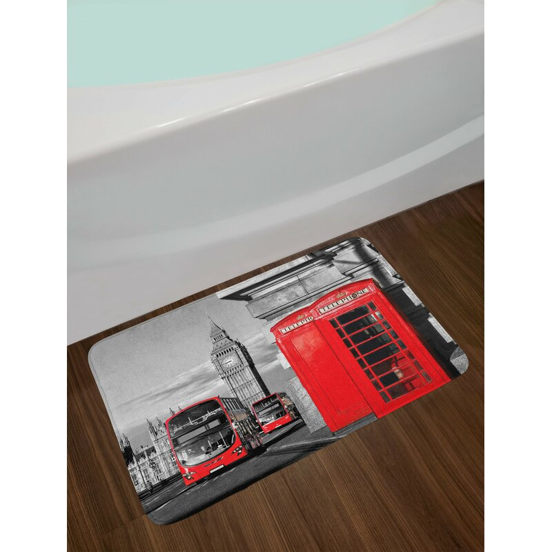 London Telephone Booth In The Street Local Cultural Icon England Uk Non Slip Plush Bath