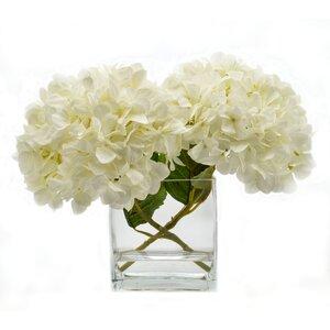 Faux White Hydrangea in Glass Vase